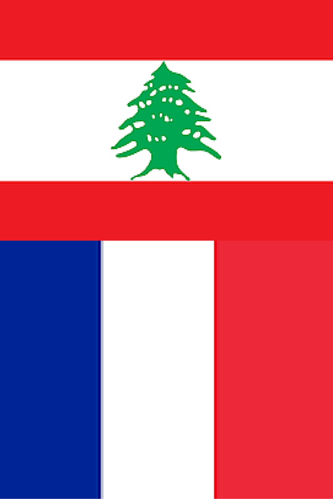 Flags of Lebanon and France